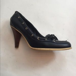 BALLY 👠HEELS PUMPS NAVY BLUE LEATHER  39 8.5 9